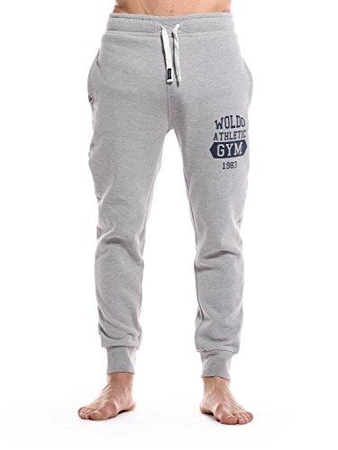 WOLDO Athletic uomo jogging jogger Pantaloni da Training Allenamento Sport Pantaloni per il tempo libero palestra fitness pantaloni Slim Fit Stretta Eng Stanley / grau/blau L