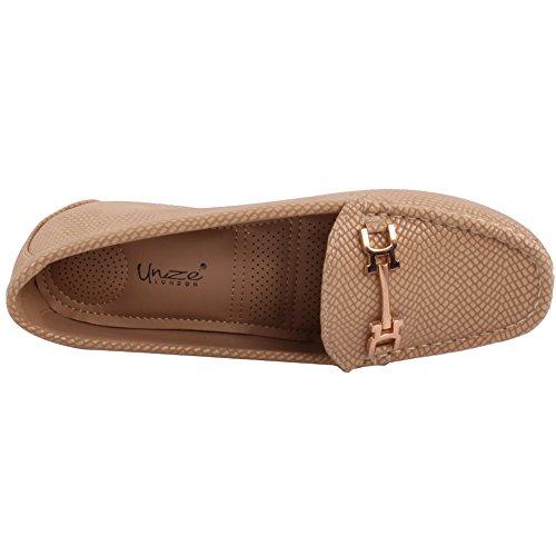 Baixos De Bege 'sapatos Bombas Mt81732a 3 Tamanho Mocassins deslizador 8 Onça Passo Confortáveis Senhoras w8xUFt8