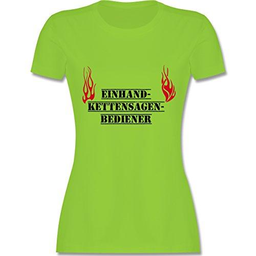 Feuerwehr - Einhand-Kettensägen-Bediener - tailliertes Premium T-Shirt mit Rundhalsausschnitt für Damen Hellgrün