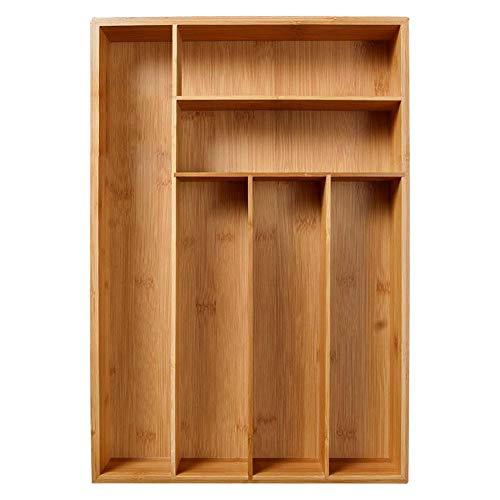 Besteckkasten Bambus Mit 6 Fächern, Schubladeneinsatz Für Küchenschränke, Nicht Einziehbar Küchenorganizer, 28 X 46 X 5cm