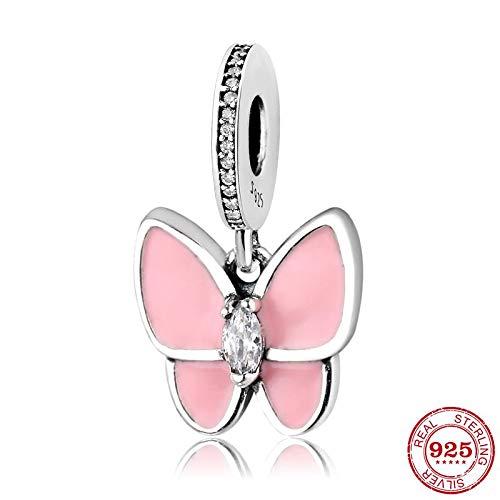 DASFF 925 Sterling Silber Charm Tanzen Schmetterling Perlen Anhänger Damen Accessoires Trendy Fit Original Charm Armband Schmuck