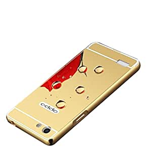 Carla Branded Luxury Metal Bumper + Acrylic Mirror Back Cover Case For OppoNeo5 Gold + Mini Aux wired Selfie Stick.