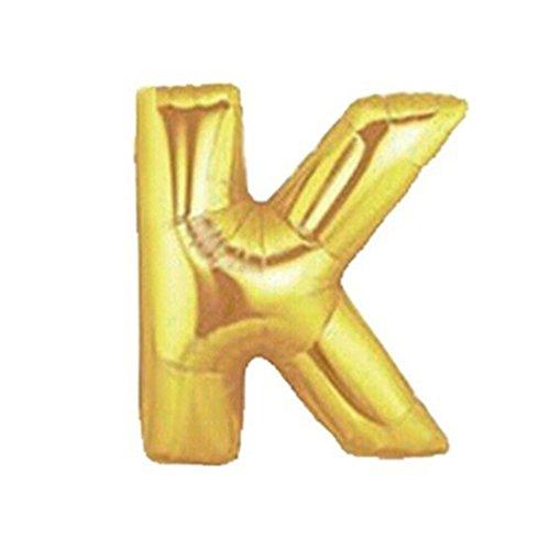 YOSEMITE Globos de papel de aluminio, tamaño Super grande, 40 pulgadas, letra A-Z y número 0 – 9, globos para boda, fiesta, cumpleaños, banderines, decoración, dorado, K