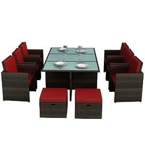 gartenm bel bali braun rot aluminium essgruppe garten m bel tisch mit 6 st hlen und. Black Bedroom Furniture Sets. Home Design Ideas