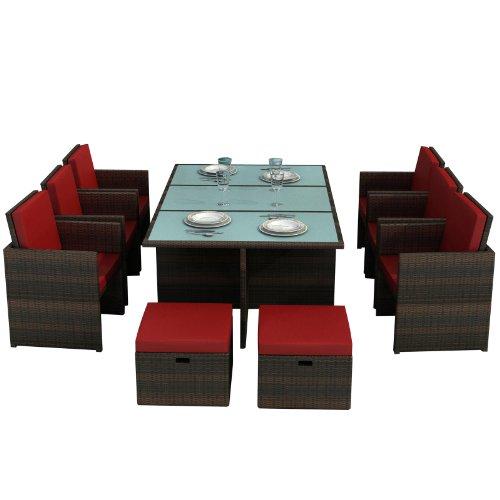 Jet-Line Gartenmöbel Bali braun/rot - Aluminium Essgruppe Tisch sechs Stühle, Vier Hocker, Glas, Sitzkissen Rattan Polyrattan (Sechs Stühle)