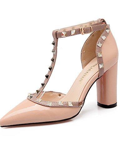 LFNLYX Chaussures Femme-Habillé-Noir / Jaune / Rose / Rouge / Gris-Gros Talon-Talons / Bout Pointu / Bout Fermé-Sandales-Similicuir Yellow