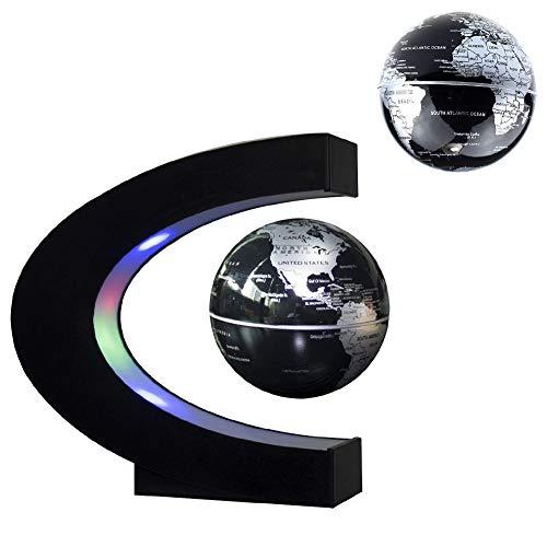 Jiuhuazi Levitación magnética Mundo Flotante Mapa Mundial, C Forma de Globo Flotante con Luces LED, la enseñanza de la educación Demo casa decoración Escritorio Oficina