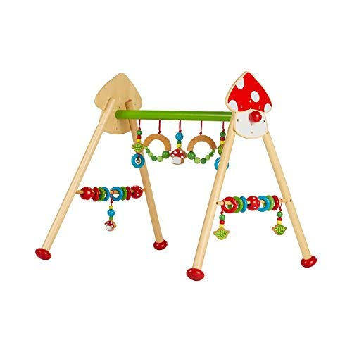 solini Spieltrapez Fliegenpilz - Holztrapez für Babys & Kleinkinder - Spielzeug aus Holz - fördert die Hand-Auge-Koordination - bunt/Natur