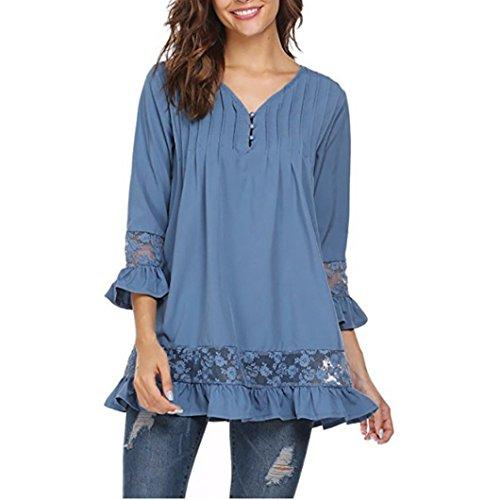 Siswong Col V Femmes Manches 3/4 Haut Parleur Dentelle Blouse T-shirt Bleu