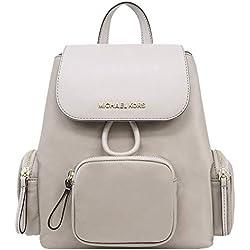 Michael Kors Women's Abbey Medium Leather Cargo Backpack Bag Rucksack Purse Cement Grey