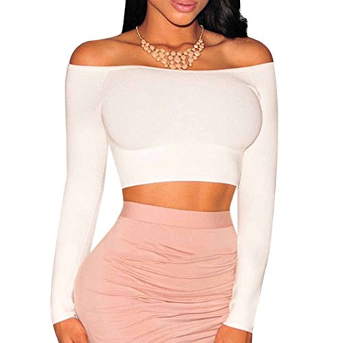 Femmes Manches Longues Encolure Tops Chic Design A Encolure Bateau T-Shirt Court Midriff Blanc