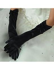 Gants Long de Mariage Femme Gant de Satin épouse blanc/ivoire/noir Gant Déguisement Simple Elégant Longueur du Coude Woman Wedding Glove Gant de Soirée Bal Spectacle Fête Avec Perles