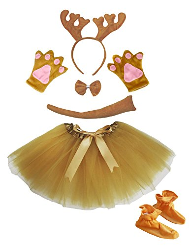 Girl Dress School Kostüm Up (Petitebelle Brown Reindeer Xmas Headband Bowtie Skirt Shoes Girl 6pc Costume (One)