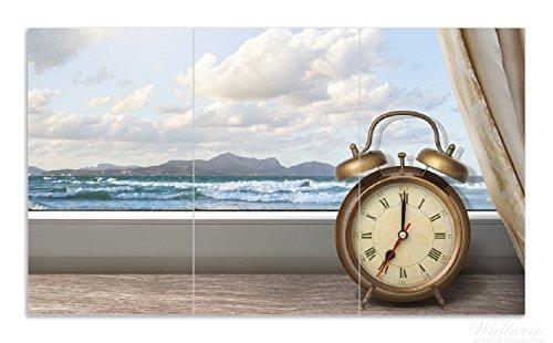 latte / Spritzschutz aus Glas, 3-teilig, 90x52cm, für Ceran- und Induktionsherde, Guten Morgen sagt das Meer - Wecker und Vorhang am Fenster (Küche Vorhänge Meer)