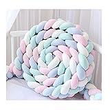 Bettumrandung,Baby Nestchen Kinderbett Stoßstange Weben Bettumrandung Kantenschutz Kopfschutz für Babybett Bettausstattung 220cm (Rosa + weiß + blau + grün)