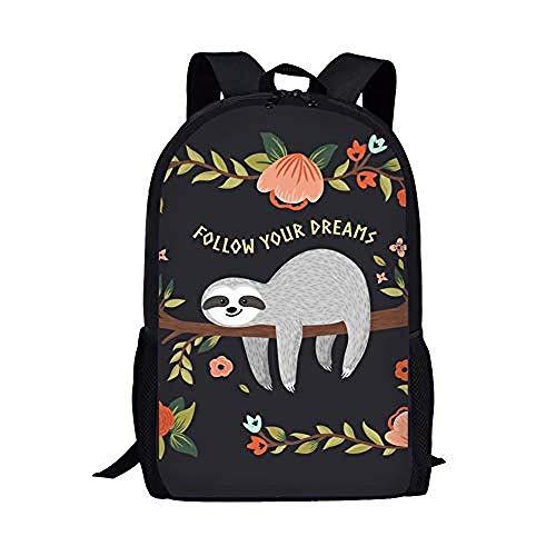 SFAOBTB Kinder Schultasche, Mädchen, Jungen Tasche Cute Dinosaur Kids Book Bag Zurück in die Schule Rucksack + Lunch Box + Federmäppchen@Faultier Folge deinen Träumen