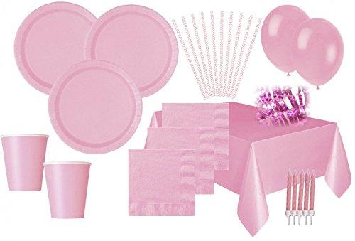 XXL 111 Teile Party Deko Set Baby Rosa für 16 Personen