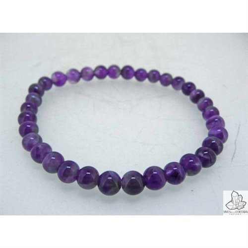 Elastic Amethyst Ball Bracelet 6mm