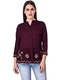 c74cab2f8d075 Elyraa Women s Embroidered Cotton Top for Dailywear Stylish Casual and  Western Wear Women Girls Tops