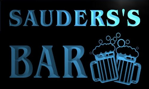 w060843-b-sauders-name-home-bar-pub-beer-mugs-cheers-neon-light-sign
