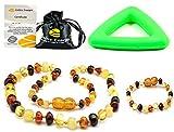 Collar de ambar 33cm + Pulsera (14cm) - De la Máxima Calidad Certificado Genuino Collar de Ámbar Báltico / Rápido Entrega / 100 Días de Garantía de Devolución de Dinero! (Multi)