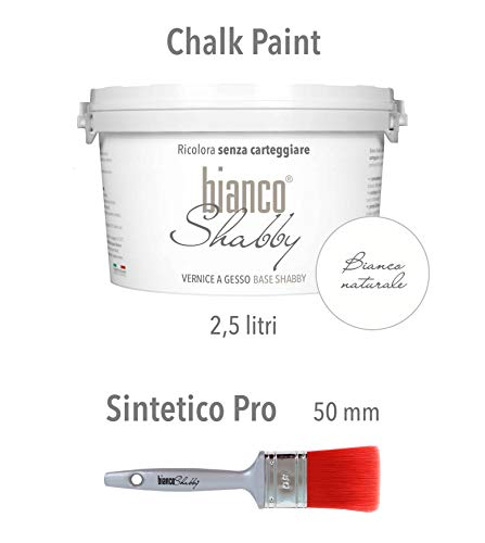 Chalk paint bianco naturale & pennello - pittura shabby chic vintage extra opaca (2,5 litro) + pennello professionale (50 mm)