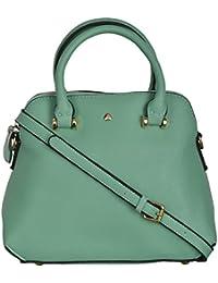 Fiona Trends Women's Sea Green PU Zipper Satchel (B1886-SEA GREEN)