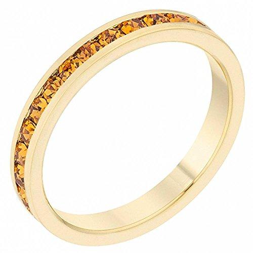 ISADY - Claire Gold Topas - Damen Ring - Ehering - Ewigkeitsring - 585er Gelbgold platiert - Zirkonium Orange Topas - T 57 (18.1)