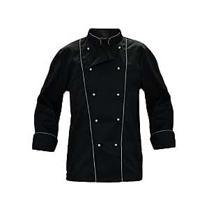 Giacca casacca da cuoco chef cotone nera con bordature grigio o nere ristorante