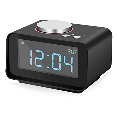 Uhrenradio, Yissvic Digital FM Radiowecker mit Nachtlicht-Funktion, Dual Alarm, Sleep-Timer, Easy Snooze, Anpassbare Helligkeitsregulierung