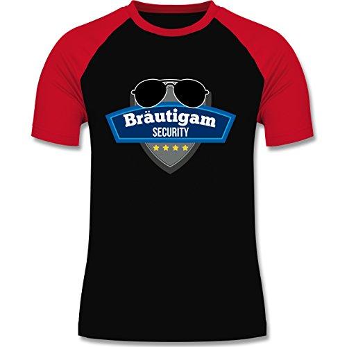 Shirtracer JGA Junggesellenabschied - Bräutigam Security Police - Herren Baseball Shirt Schwarz/Rot