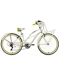 KS Cycling Damen Fahrrad Beachcruiser Cargo Bellefleur, weiß-grün, 26, 753B