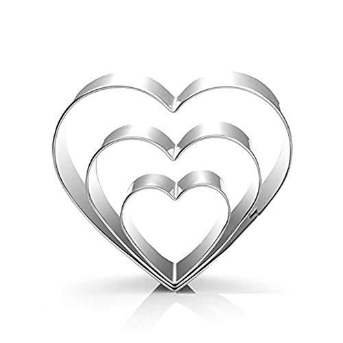 Hacoly 3 Stück/Set Herz Ausstecher Liebe Ausstechform S/M/L DIY Backen Plätzchen Schimmel Schokolade handgemachte Formen Ausstechformen Keksform Cutter Seife EIS Zucker Handwerk -