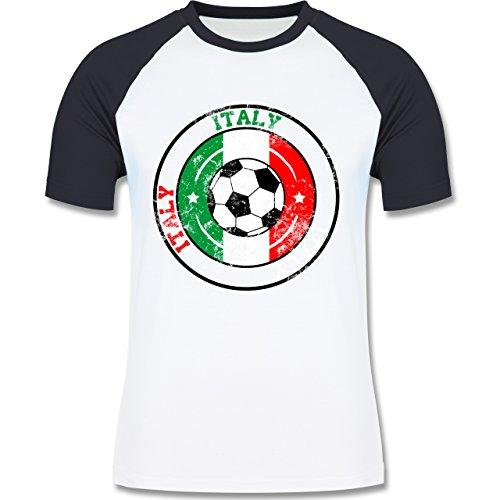 EM 2016 - Frankreich - Italy Kreis & Fußball Vintage - zweifarbiges Baseballshirt für Männer Weiß/Navy Blau