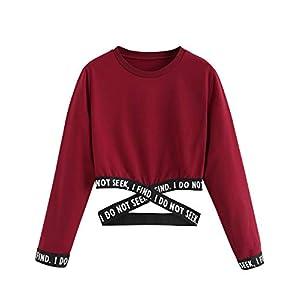 Bauchfreier Pulli Mädchen, Damen Bauchfrei Pullover Brief Drucken Casual Langarm Sweatshirt Kurz Sport Crop Tops Oberteile Sweatjacke Shirts Hemd Bluse