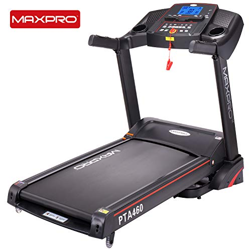 "MAXPRO PTA460 2.5HP (5 HP Peak) Motorized Folding Treadmill with Auto Incline, Auto Lubrication Fitness Machine with 5""Blue Backlight LCD Display for Home Cardio Fitness (Free Installation & Demo)"