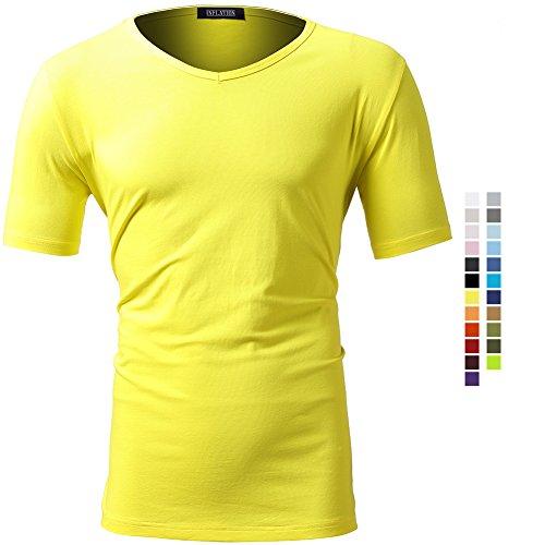 Casual Herren T-Shirt Kurzarm Shirt klein V-Ausschnitt Slim Fit Einfarbig Elastisch Figurbetont Meliert Tee Jungendliche Vintag Shirts Elastisch Gelb XL