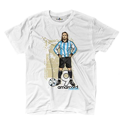 KiarenzaFD T-Shirt Calcio Amarcord Vintage Batigol Glory Argentina Albiceleste 2, KTS02613-S-white, weiß, S -