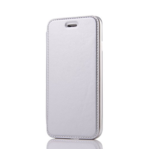 "HYAIT® For IPHONE 7 4.7"" Case[Credit Card Slots][Half Cover] Dual Layer Hybrid Armor Rugged Plastic Hard Shell Flexible TPU Bumper Protective Cover-WHITE WHITE"