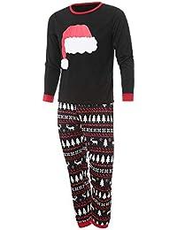 Zolimx 2PCS Weihnachten Familie Cartoon Hut Print Top + Hosen Familie Kleidung Pyjamas Kleinkind Baby Schneemann Print Strampler Familie Kleidung