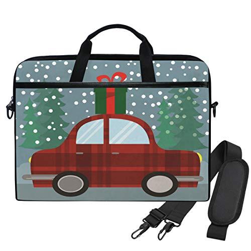 Emoya Umhängetasche Laptop Tasche Weihnachtsbaum Retro Auto Geschenk-Box 13-14 Zoll Laptop Sleeve Aktentasche für Herren Damen -