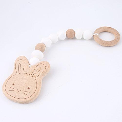 Mamimami Home Baby Holz Beißring Cute Bunny Ohr Bio Rassel Kautabletten Silikon Perlen Handmade DIY Anhänger Soothe Baby spielen Gym Kinderkrankheiten Spielzeug