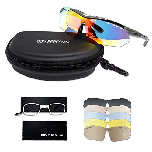 DONPEREGRINO Tr 90 Unzerbrechlichen Rahmen Fahrradbrille Herren Damen mit 6 Austauschbaren Linsen HD Polarisierte Sport Sonnenbrille