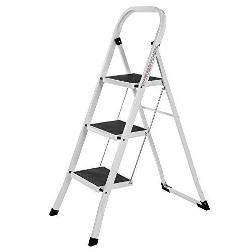 SONGMICS Trittleiter, Leiter mit 3 Stufen, Klapptritt, Klappsicherung, einfach zu verstauen, belastbar bis 150 kg, vom TÜV Rheinland nach EN14183 geprüft GSL03WT