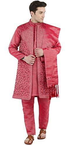 Kurta Pyjama indischen 4-teiliges Hochzeitsfest Kleid rot Langarm-Shirt Kleidung