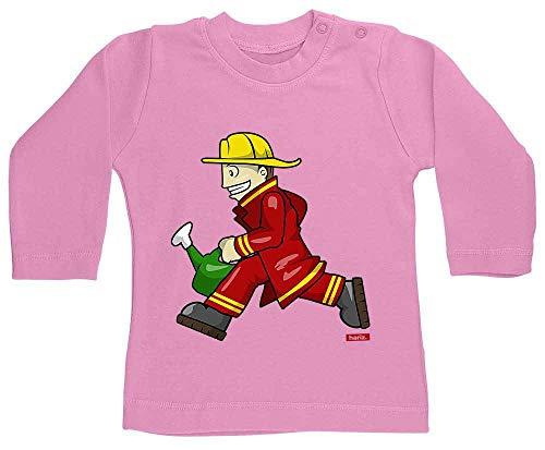 HARIZ Baby Shirt Langarm Feuerwehrmann Kanne Rennen Feuerwehr Lustig Inkl. Geschenk Karte Bubblegum Pink 18-24 Monate