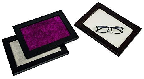 Vorlagetablett Präsentationstablett Holz schwarz S Brille Optik Uhren Schmuck (smaragd)
