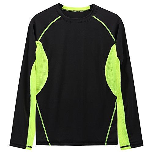 YCX Herren Leichtes Crewneck Kurzarm Cool Dry Kontrast Farbe Sport Kompression T-Shirt Schwarz4