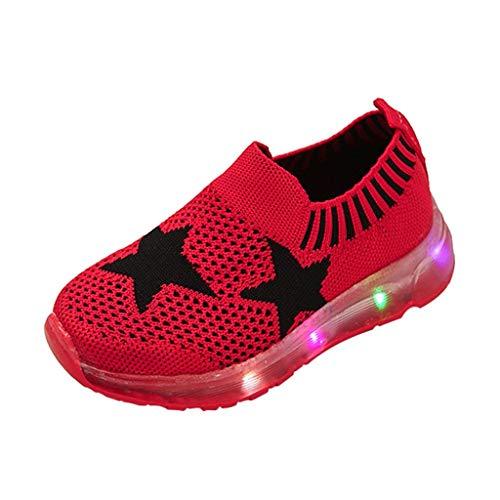 TTLOVE Mode Freizeit Laufsport Socken LED Schuhe Junge Beiläufig Elastisch Leichtgewichtige Turnschuhe Mädchen Sport Schuhe Stiefeletten Slip On Schuhe Net Schuh,15 Monate - 6 Jahre (rot,26) (Kleinkind Schuhe Mädchen Crib Schuh)