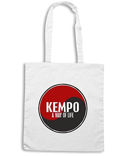 T-Shirtshock - Borsa Shopping TAM0084 kempo a way of life yin yang white tshirt Bianco
